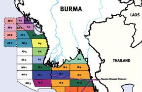 maps and information of Burma's oil and gas industry