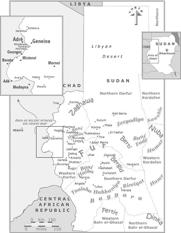 Map of Chad/Sudan border