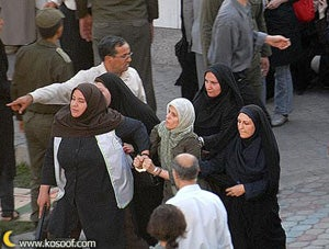 A women's rights demonstration in Tehran's Haft Tir Square, June 12, 2006, during which police beat and arbitrarily detained demonstrators © 2006 www.kosoof.com