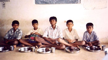 Former silk workers now living at a residential school  run by a nongovernmental organization, in Bangalore Rural District, Karnataka.
