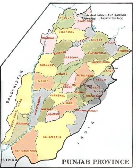pakistan punjab map with districts Soiled Hands The Pakistan Army S Repression Of The Punjab Farmers pakistan punjab map with districts