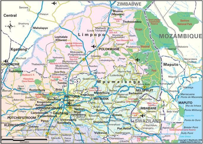 Mpumalanga Map Distances Map of Limpopo And Mpumalanga