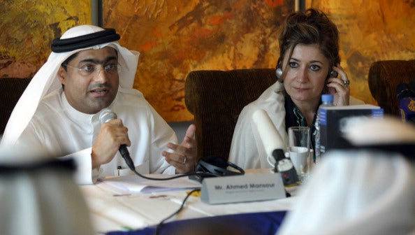 Human Rights activist Ahmed Mansoor speaks at press conference in Dubai on Jan. 26, 2011 (Photo courtesy of Human Rights Watch).