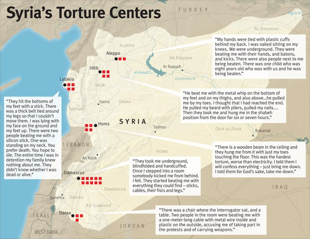 Syria Torture Centers Revealed Human Rights Watch - Syria interactive map