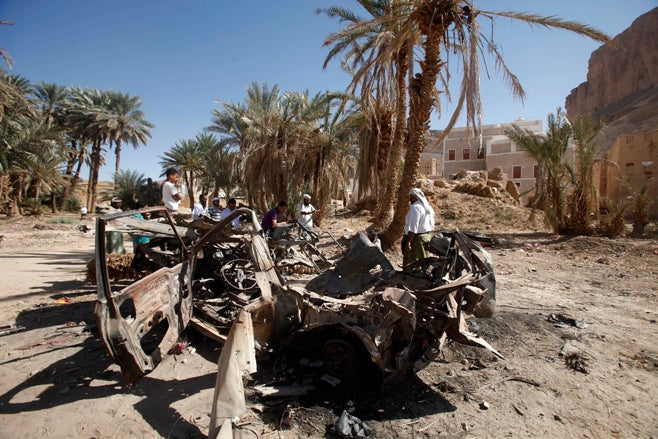 <p>The remnants of a US drone strike on August 29, 2012 in Khashamir, Yemen. The strike killed three alleged members of Al-Qaeda in the Arabian Peninsula, a policeman, and a cleric who preached against the armed group.</p>