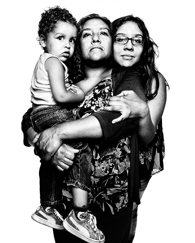 <p>Melida Ruiz, a lawful permanent resident, pictured with her daughter, Mercedez Ruiz, and her grandson, Christopher Gonzalez. In 2011, Melida was held in immigration detention for seven months while she fought deportation based on a 2002 misdemeanor drug conviction, her sole conviction in more than 30 years in the United States.</p>