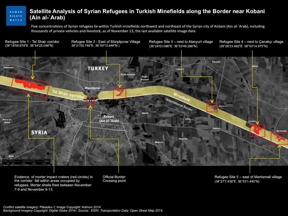 SyriaTurkey Landmines Kill Civilians Fleeing Kobani Human - Us minefield map