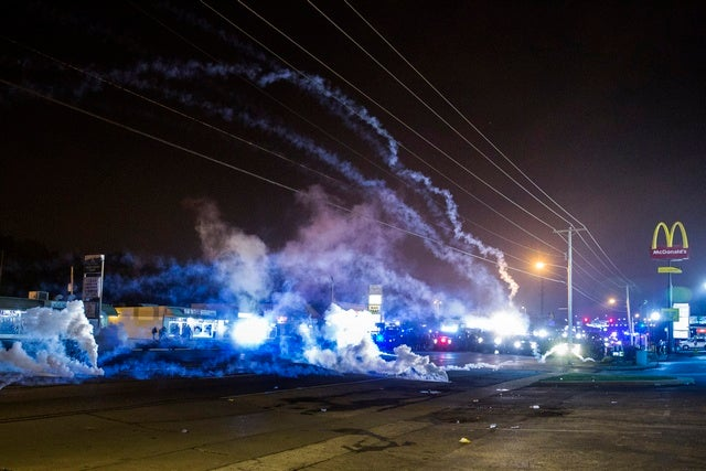 Tear gas clouds in Fergusson, Missouri.