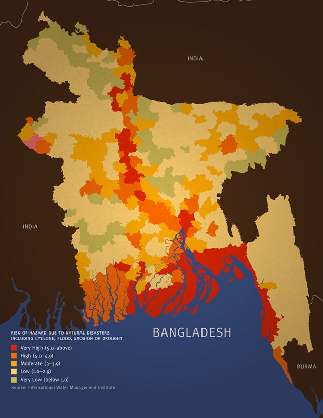 Map showing risk of hazard due to natural disasters including cyclone, flood, erosion or drought for populations living in Bangladesh.