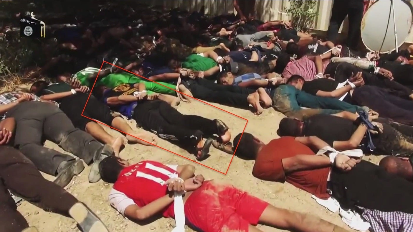 <p>Ali, one of the few survivors of a mass execution at the Presidential Palace in Tikrit, is visible among more than 60 captives prior to execution in a still frame from a YouTube video posted by Islamic State.</p>