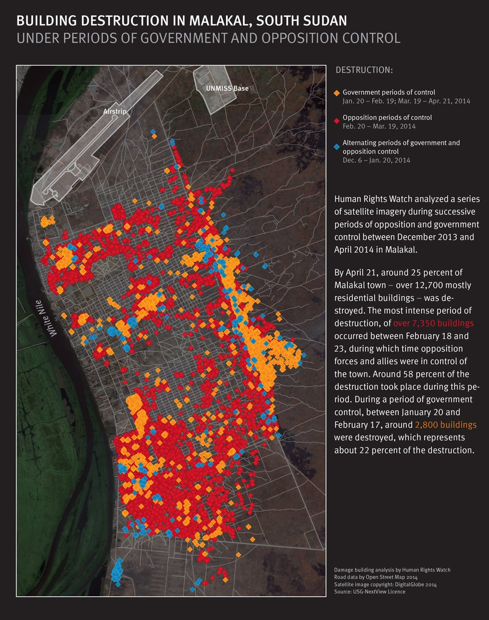 Map of building destruction in Malakal, South Sudan