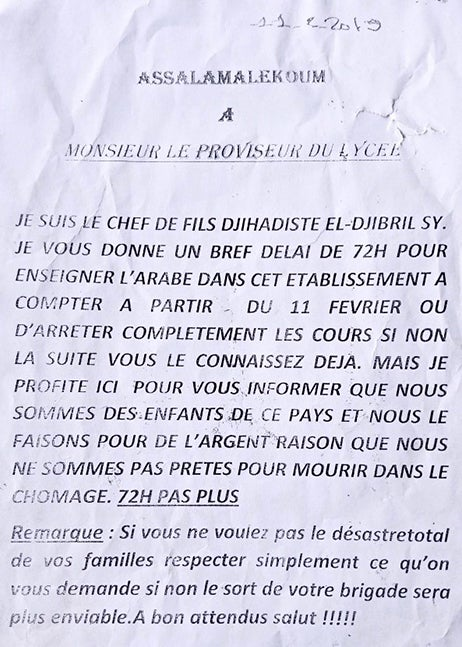 A typed letter in French