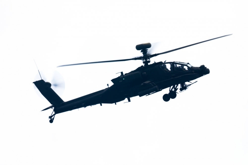 Image of a US Army AH-64E Apache attack helicopter.
