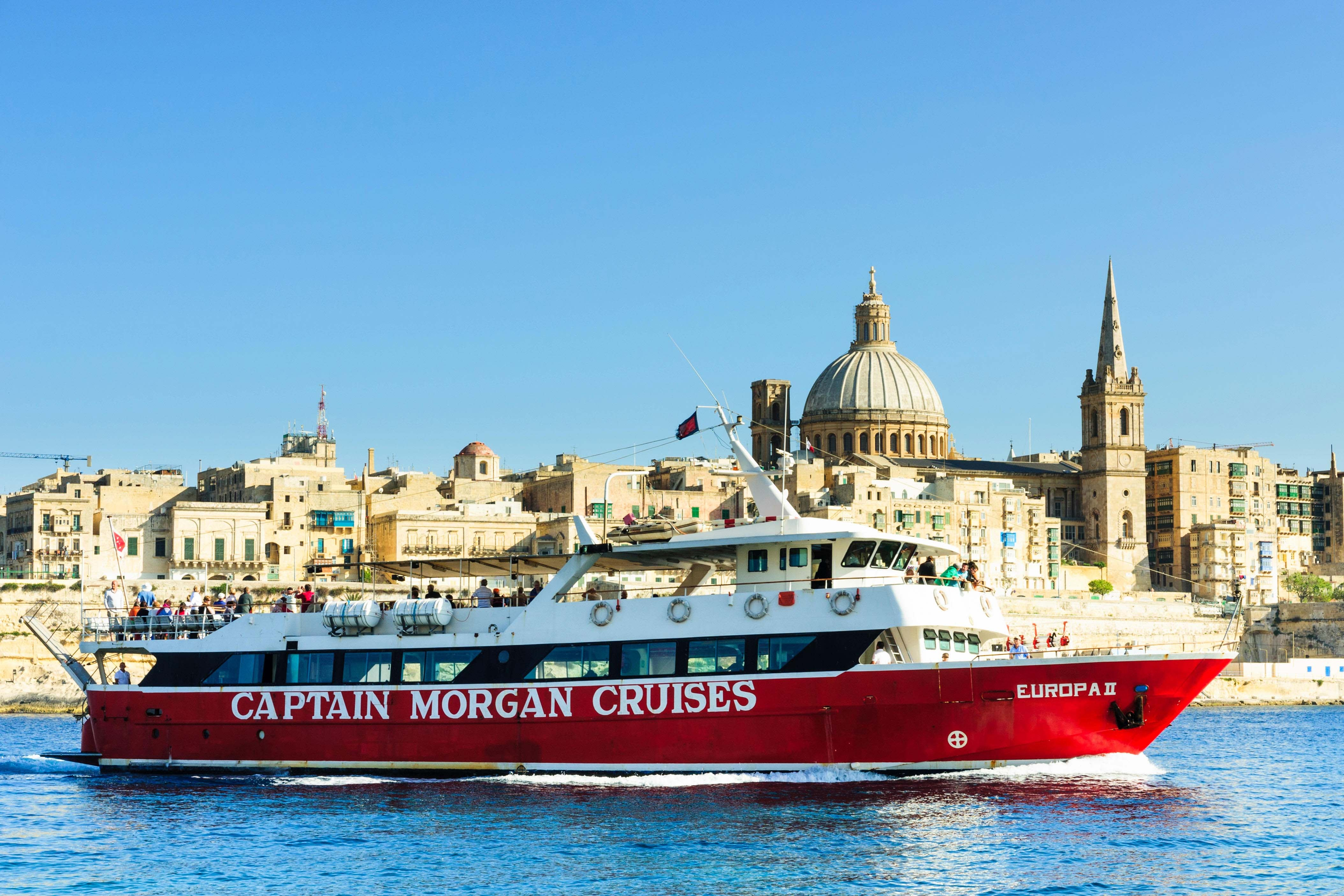 The Europa II, a tourist ferry sets sail from Marsamxett Harbour, Valletta, Malta.