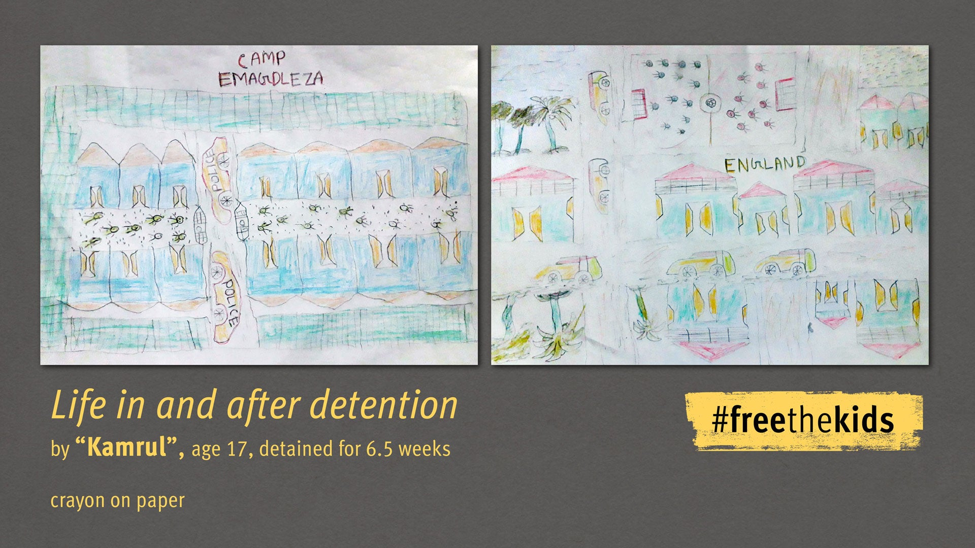"""Drawing by """"Kamrul,"""" age 17, detained for 6.5 weeks. Drawing titled, """"Life in and After Detention"""""""