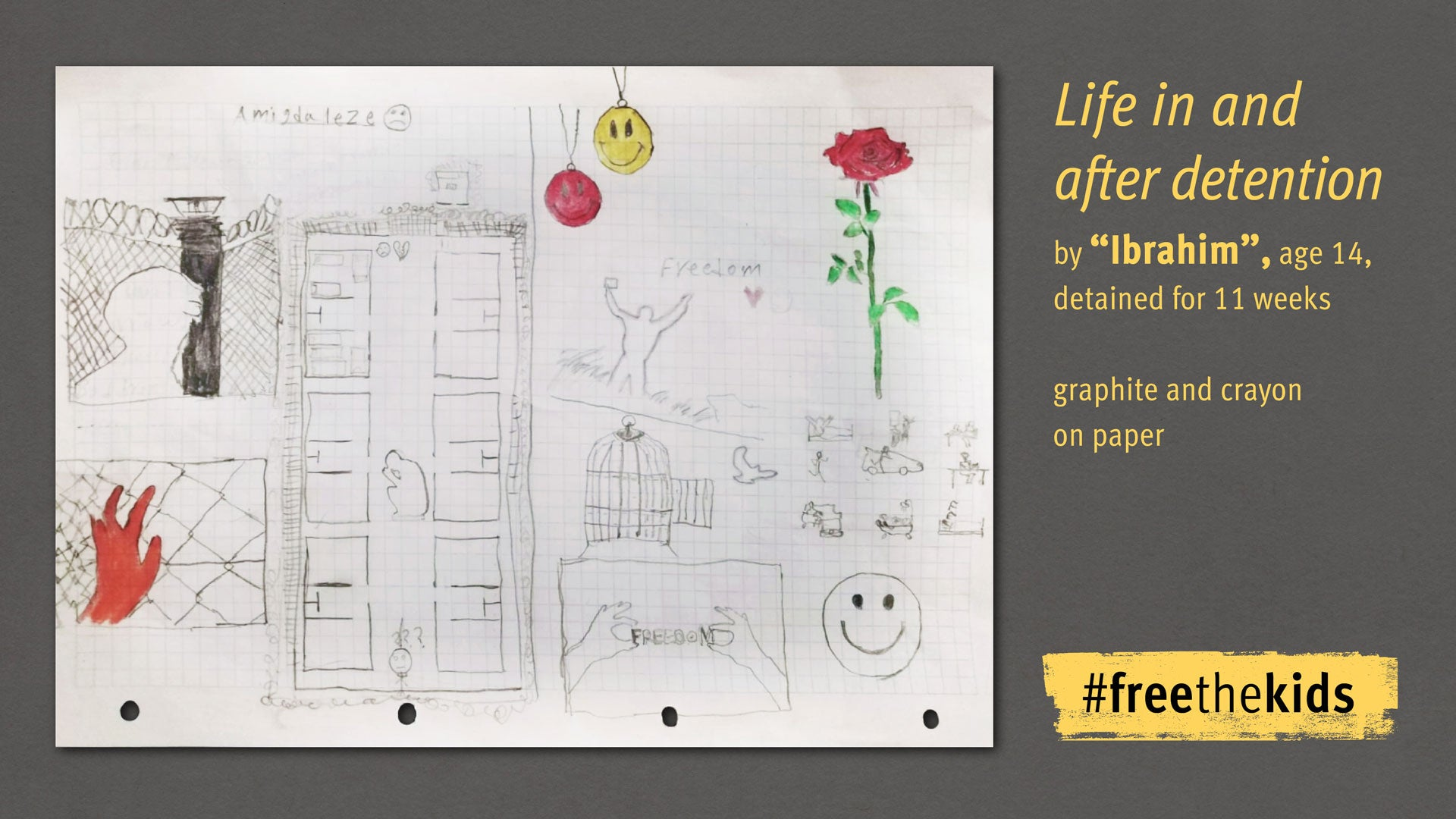 """Drawing by Ibrahim, age 14, detained for 11 weeks. Drawing titled, """"Life in and After Detention"""""""
