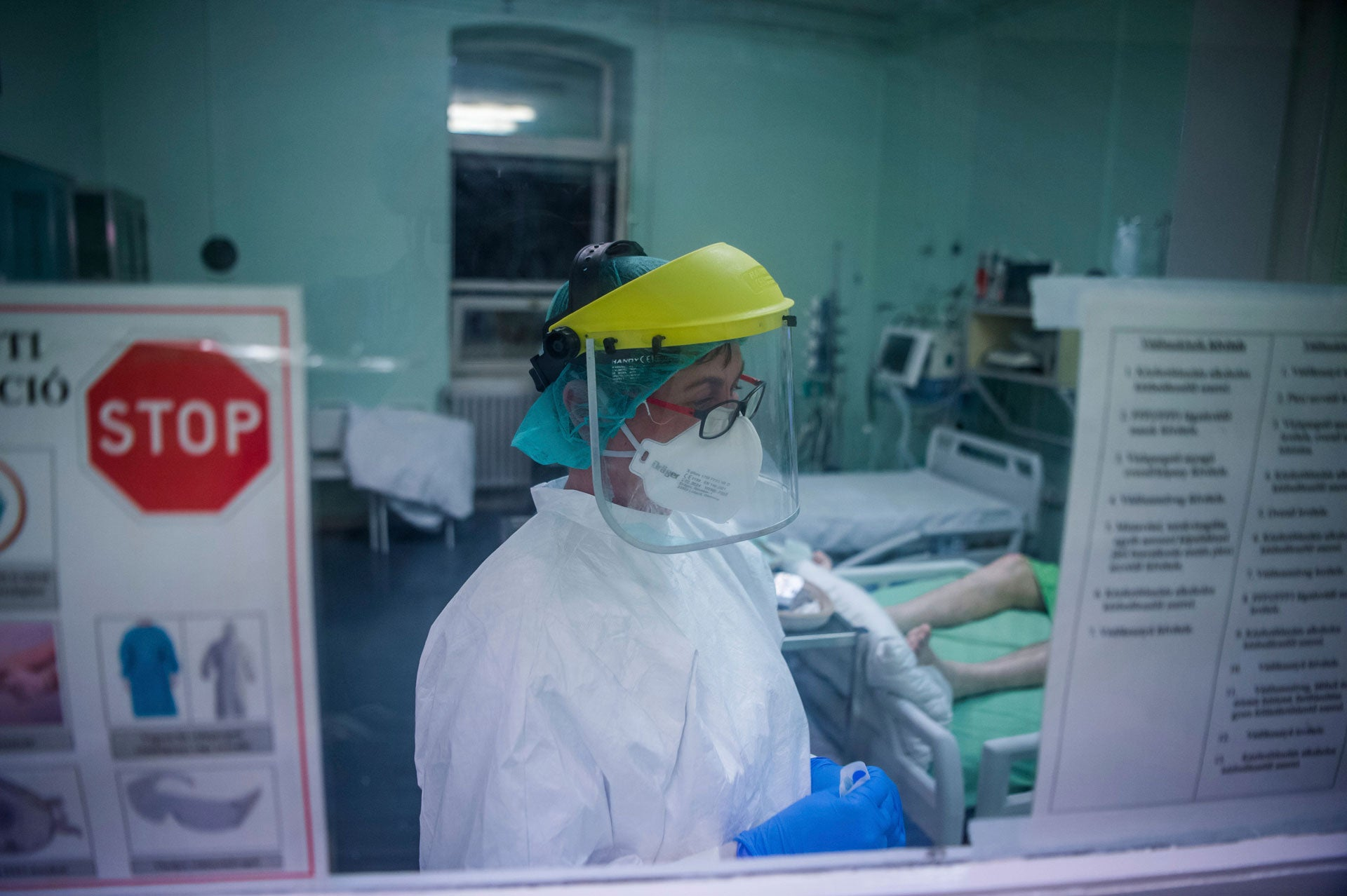 A nurse in protective gear works at the Szent Laszlo Hospital in Budapest, Hungary, during the Covid-19 pandemic, April 27, 2020.