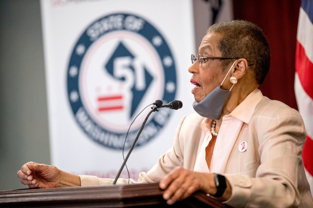 Delegate Eleanor Holmes Norton, D-D.C., speaks at a news conference on District of Columbia statehood on Capitol Hill, Tuesday, June 16, 2020, in Washington.