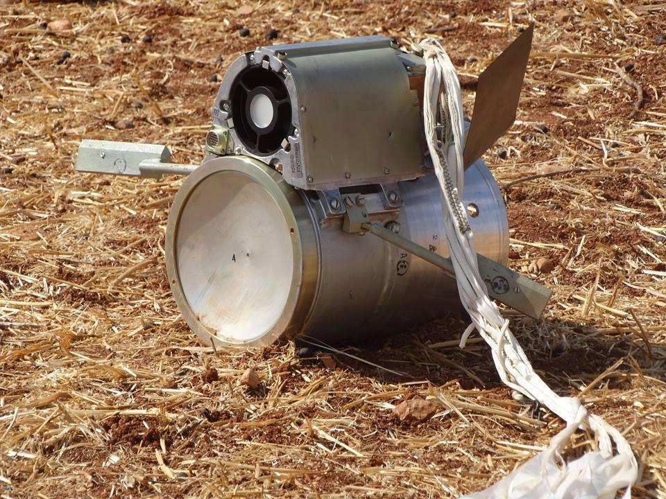 The SPBE submunition descends by parachute and is designed to detect and destroy armored vehicles. ©2015 Shaam News Network