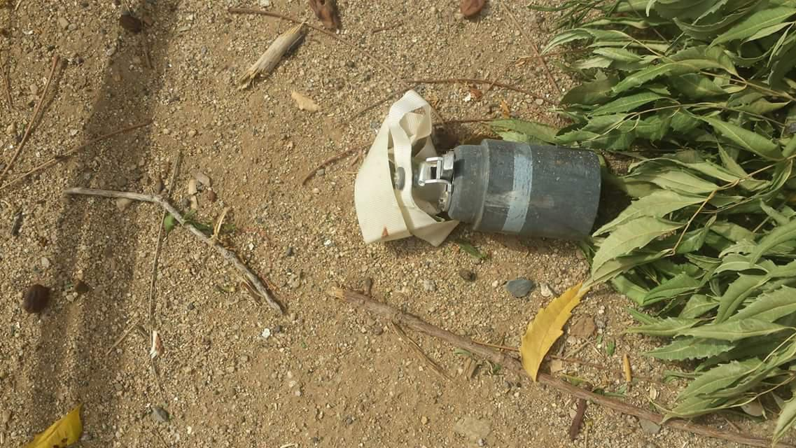 Unexploded M77 DPICM submunition found near al-Fajj village, northern Yemen, after a cluster munition attack in June or July 2015.