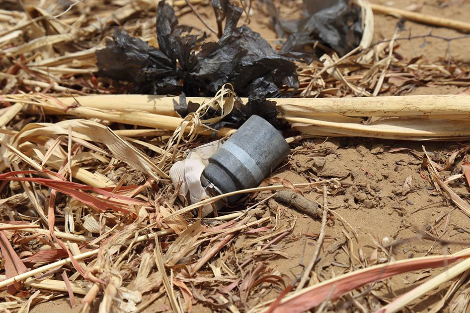 An unexploded M77 DPICM submunition found in Dughayj village, northern Yemen, after a cluster munition attack in June or July 2015.