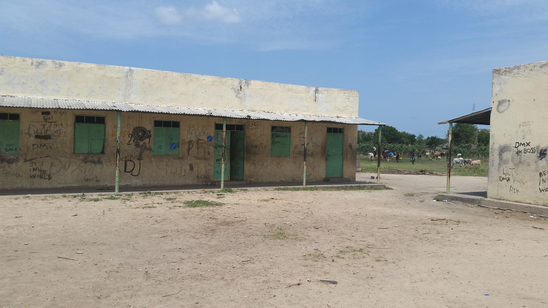 A school in Bentiu, Unity state, used as a barracks by soldiers and their families.