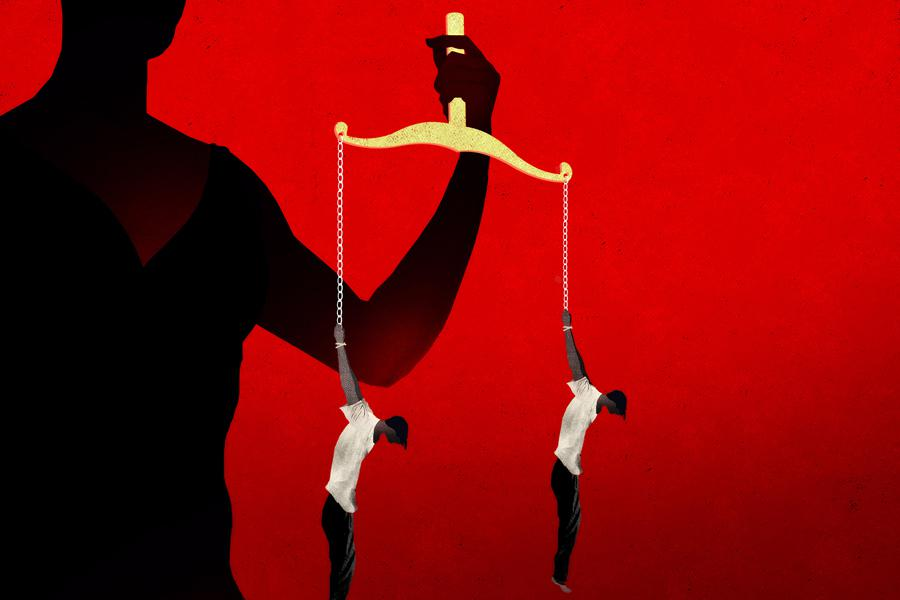 Illustration of the scales of justice replaced by two people shackled by their wrists and dangling in the air.