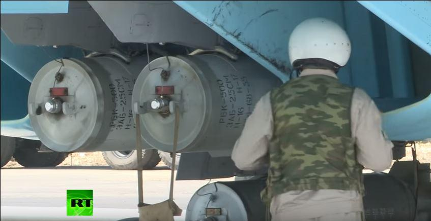 Footage showing what Human Rights Watch arms experts have identified as RBK-500 ZAB-2.5SM incendiary bombs mounted on a Russian attack aircraft at a Russian air base in Syria, June 18, 2016.