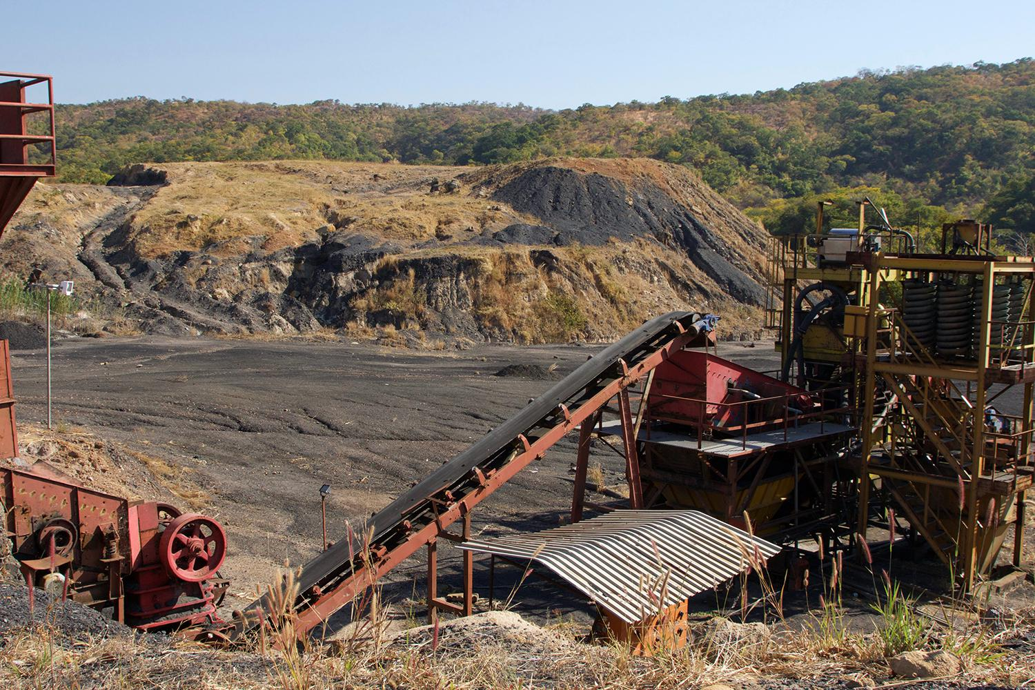 Mining machinery left behind at Eland coal mine at Mwabulambo after closure in 2015.