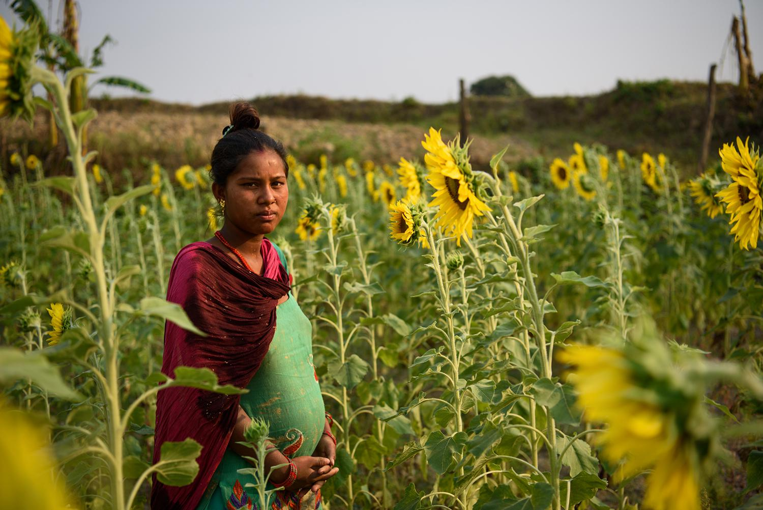 Sharmila G., 14, eloped at age 12 and married an 18-year-old man. At the time this picture was taken she was seven months pregnant. She said that when rumors spread in her village about her relationship with her then-boyfriend, her parents tried to separa