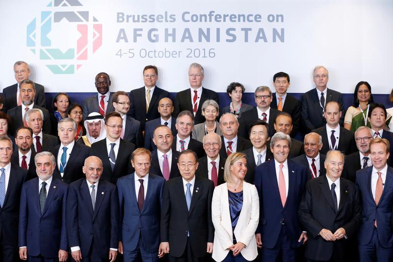 DATE IMPORTED:October 05, 2016(Front Row L-R) Afghanistan's Chief Executive Abdullah Abdullah, President Ashraf Ghani, European Council President Donald Tusk, U.N. Secretary General Ban Ki-moon, European Union foreign policy chief Federica Mogherini, U.S.