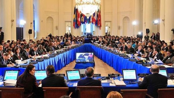 A Ministra de Relações Exteriores da Venezuela, Delcy Rodríguez, discursou ao Conselho Permanente da Organização dos Estados Americanos em 5 de maio de 2016.