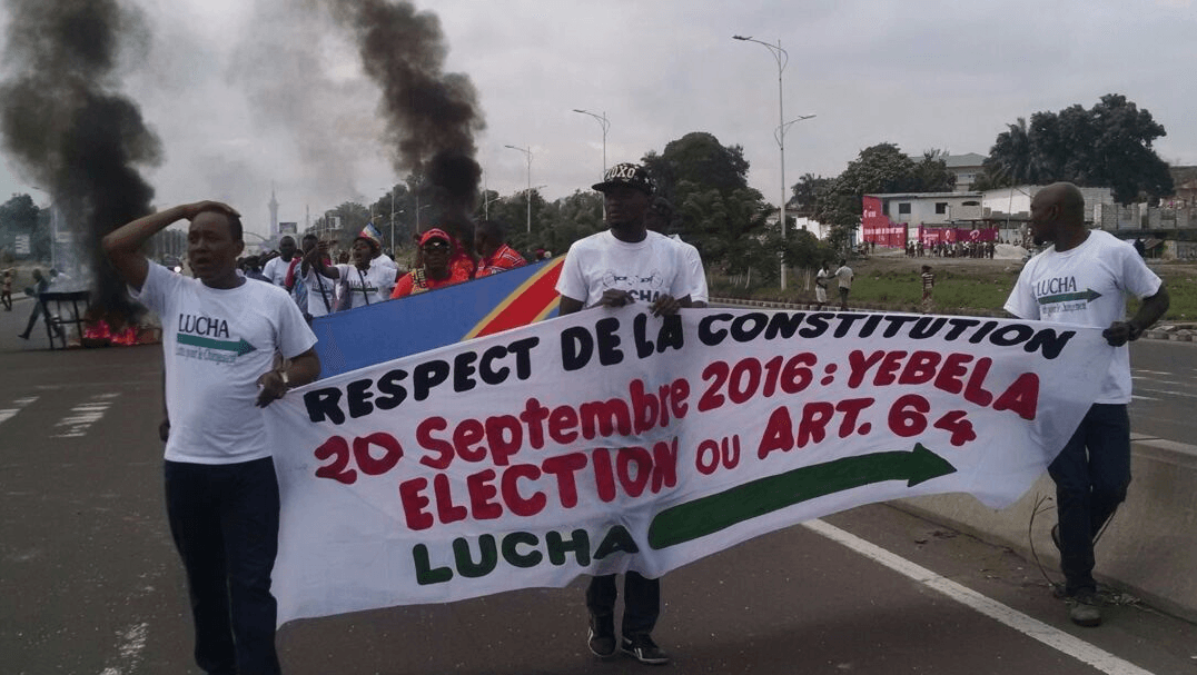 Pro-democracy youth activists at a protest against election delays in Kinshasa, capital of the Democratic Republic of Congo, on September 19, 2016.