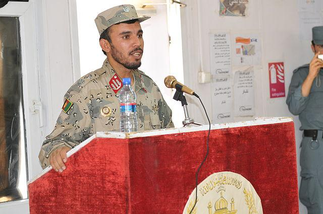 General Abdul Raziq, Afghan National Police chief for the southern city of Kandahare, addresses officers during their graduation ceremony at the Kandahar Regional Training Center in southern Afghanistan, Jun. 7, 2012.