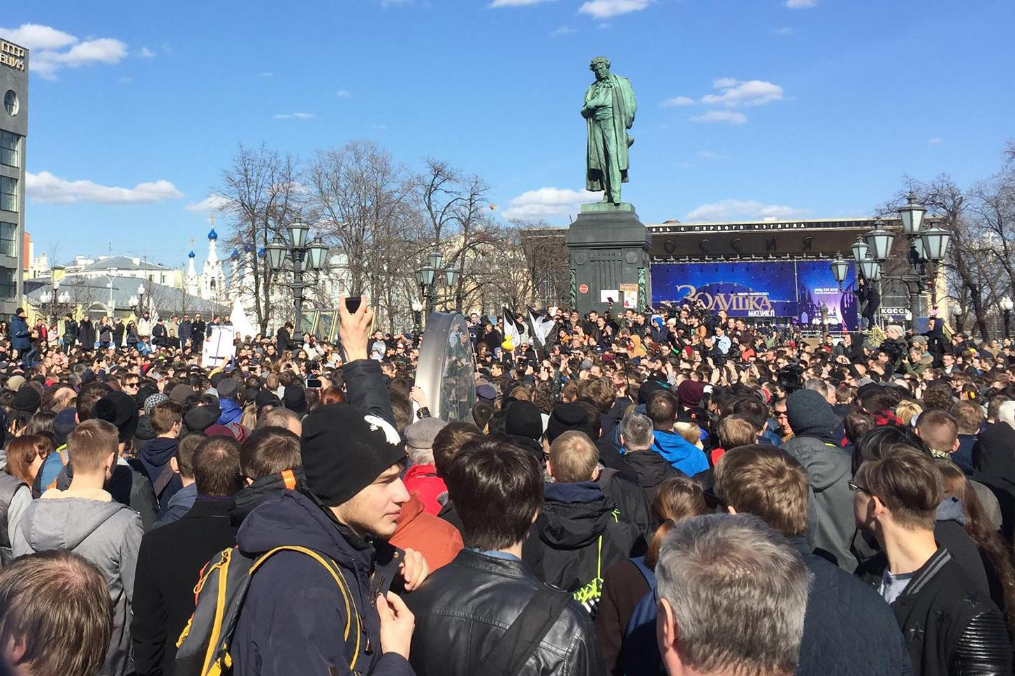 Protesters assembled around Pushkinskaya Square in Moscow on March 26, 2017.