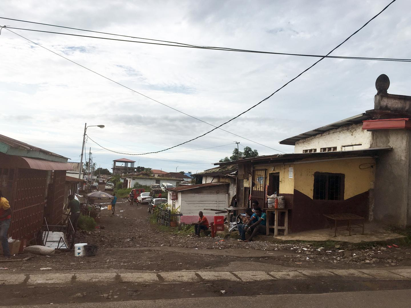A wide shot of houses in a neighborhood of Malabo