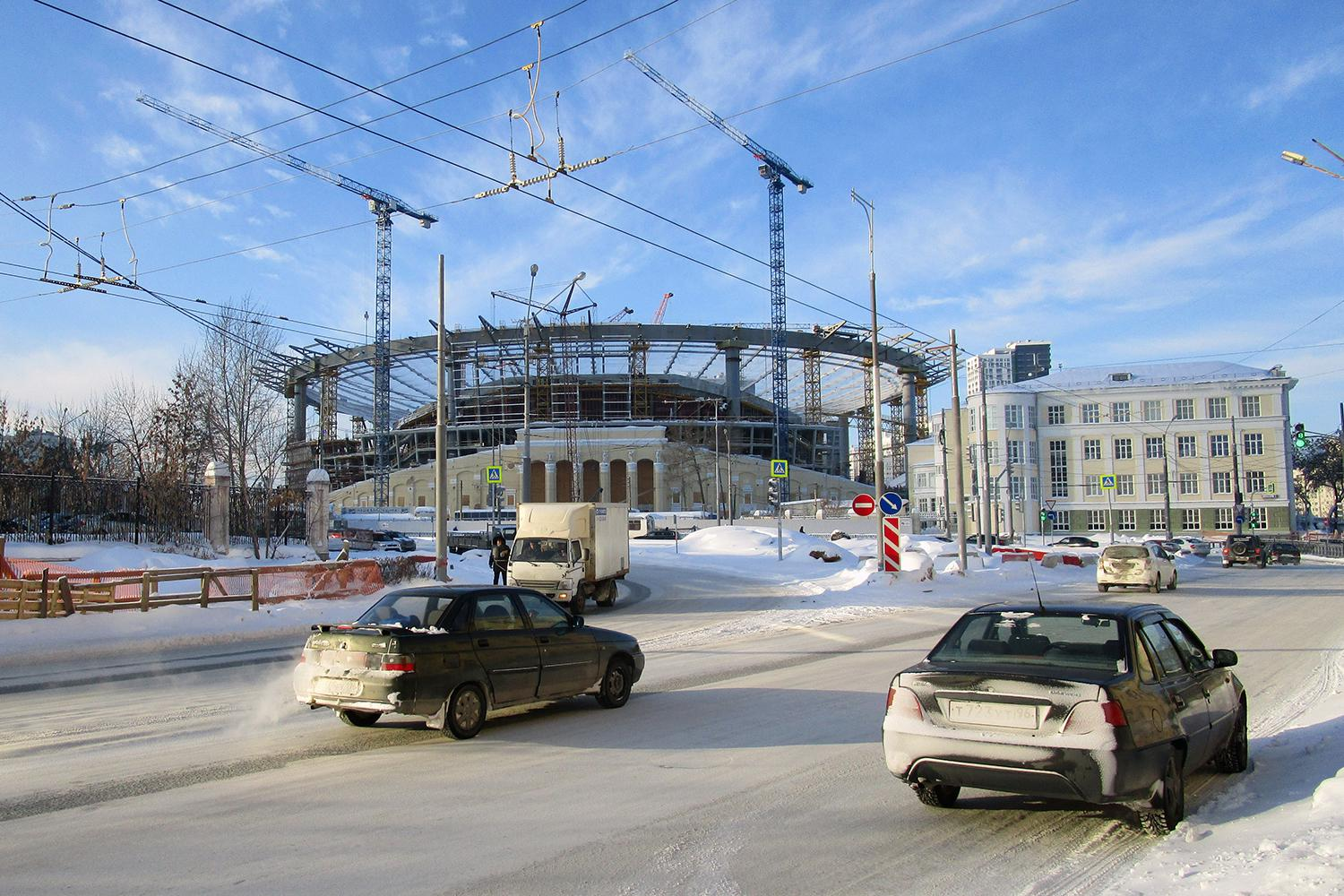The Ekaterinburg Arena, a World Cup 2018 venue, in Ekaterinburg, Russia, under construction in January 2017.
