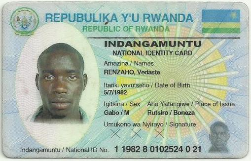 Identity card of Vedaste Renzaho, 35, who was killed in late December 2016, while fishing near Bugarura village in Bushaka cell.