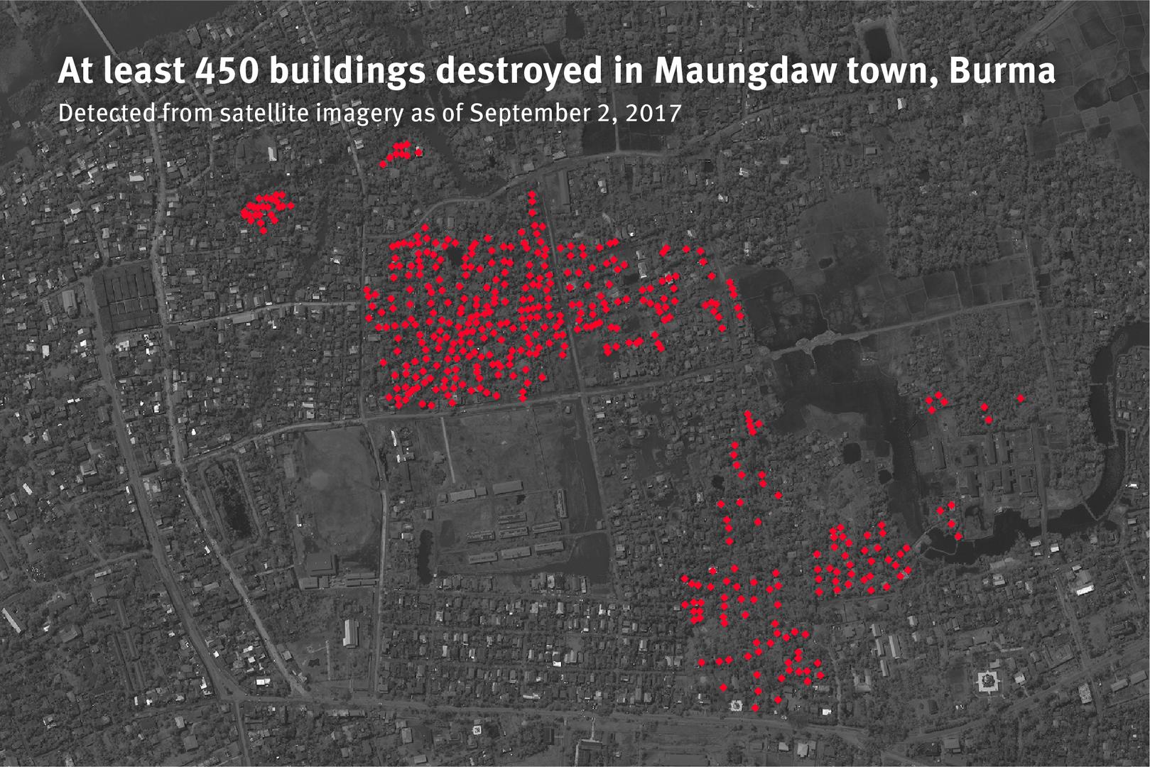 बर्मा के रखाइन राज्य में मोंगडॉ शहर के रोहिंग्या इलाके में अगस्त, 2017 में नष्ट कर दी गई 450 इमारतों के अवशेषों को दर्शाता नक्शा.