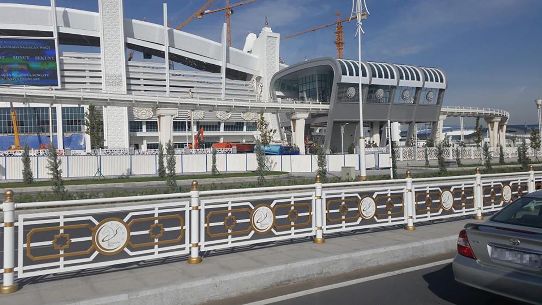 outside the Ashgabat stadium