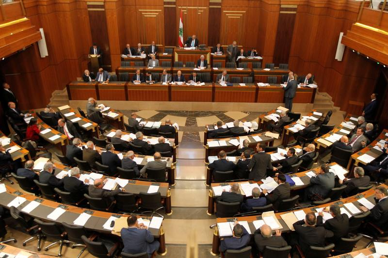 Lebanese members of parliament attend a parliament discussion in Beirut, Lebanon, October 17, 2017.