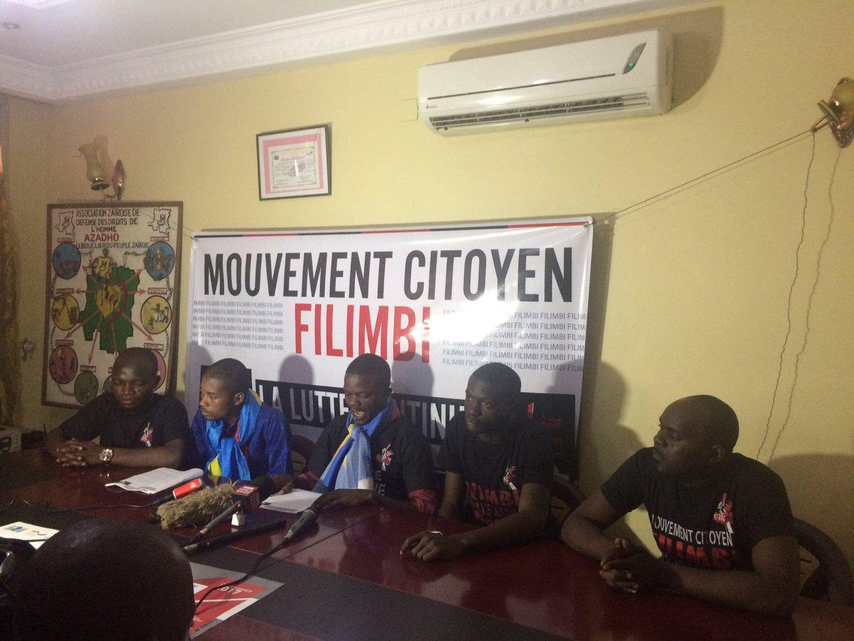 The citizens' movement Filimbi holds a press conference in Kinshasa, capital of the Democratic Republic of Congo, on January 9, 2017.