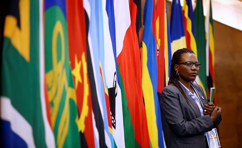 Um delegado participa na 37ª Cimeira Ordinária de Chefes de Estado e de Governo da SADC que teve lugar em Pretória, África do Sul, aos 19 de Agosto de 2017.