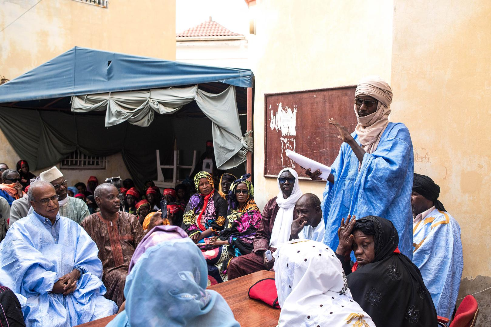 Meeting organized by the Collective of Widows and by the Collective of Civilian and Military Victims, on the Day of Commemoration of the Events of 1989-1990.  November 2016, Nouakchott.