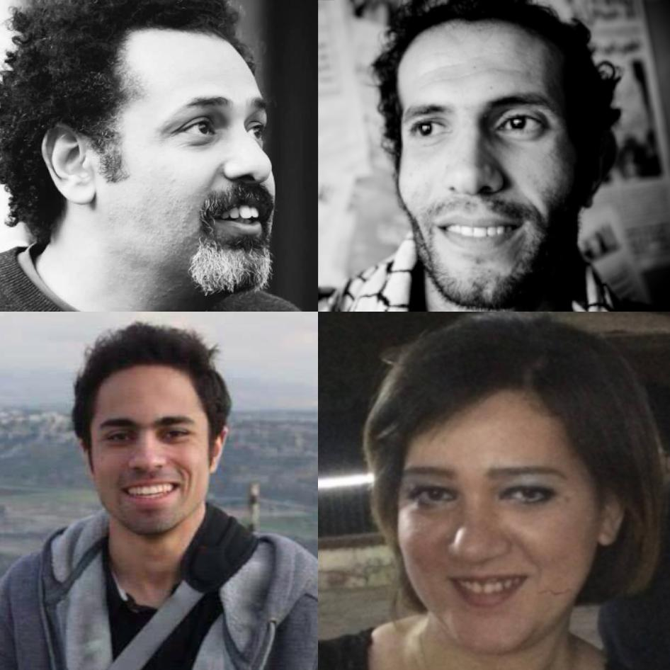 "Wael Abbas (top left), Haitham Mohamadeen (top right), Shady Abu Zaid (bottom left), and Amal Fathy (bottom right), were all arrested this month for charges such as joining ""a banned group"" or ""terrorist organization"" and spreading ""false news."""