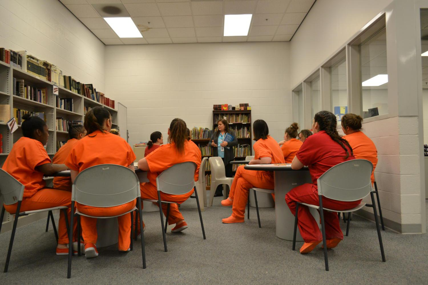 Women in the David L. Moss Correctional Center attend a parenting class, Tulsa, Oklahoma, 2017.