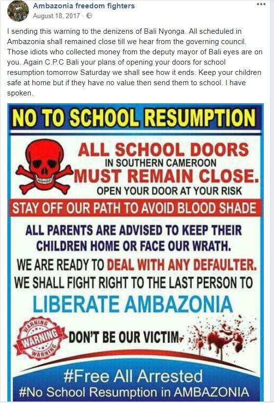 "Figure 1 – A graphic threatening parents and children to boycott schools, circulated on Facebook by ""Ambazonia Freedom Fighters,"" on August 18, 2017."