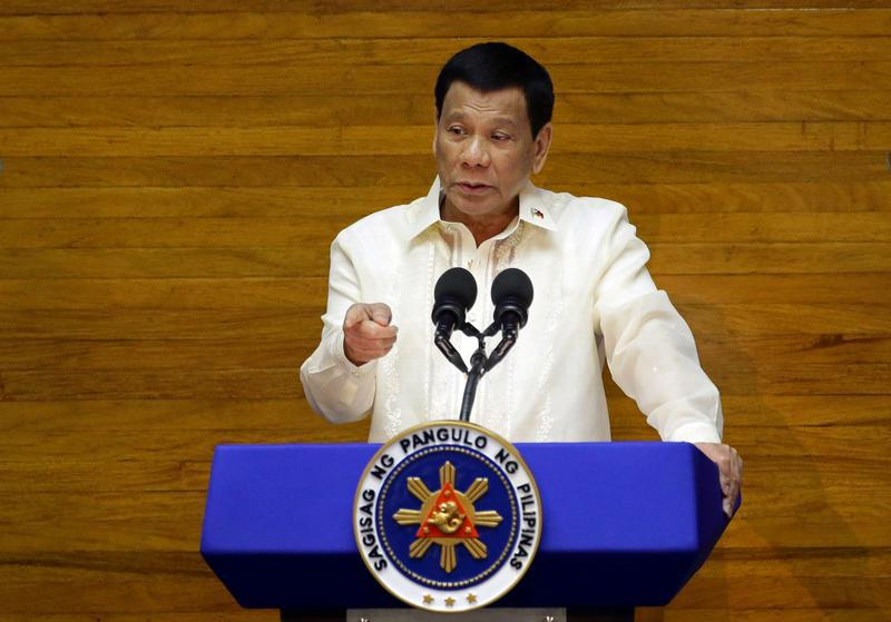 Philippine President Rodrigo Duterte delivers his State of the Nation address at the House of Representatives in Quezon city, Metro Manila, Philippines, July 23, 2018.