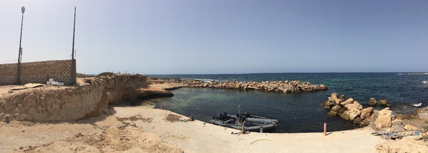Rettungsboot der libyschen Küstenwache in Sebratha, 65km westlich der Hauptstadt Tripolis, Juli 2018.