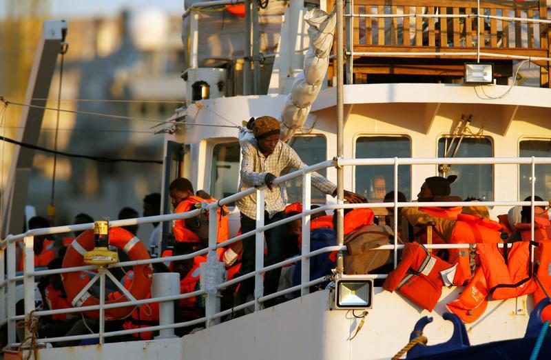 Migrants are seen onboard the charity ship Lifeline at Boiler Wharf in Senglea, in Valletta's Grand Harbour, Malta June 27, 2018.